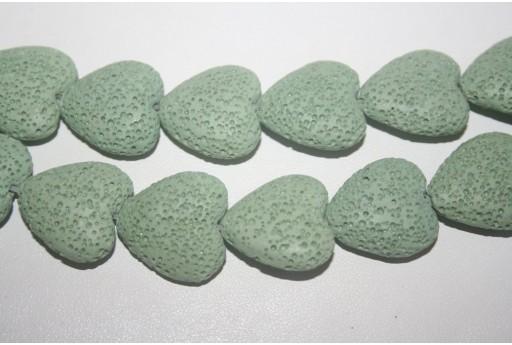 Lava Rock Beads Aqua Green Heart 20x21mm - 2pz