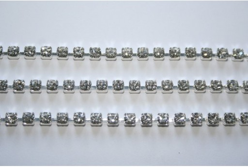 20cm. Catena Strass Preciosa 4mm Crystal/Argento SS14 CAT31C