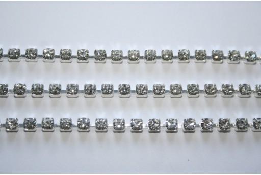Rhinestone Cup Chain SS16 4mm Crystal/Silver - 50cm