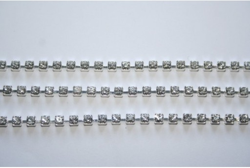 Catena Strass Crystal/Argento SS12 3mm - 50cm