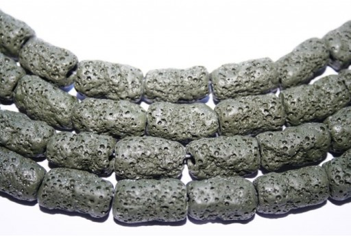 Lava Rock Beads Green Tube 20X10mm - 3pz