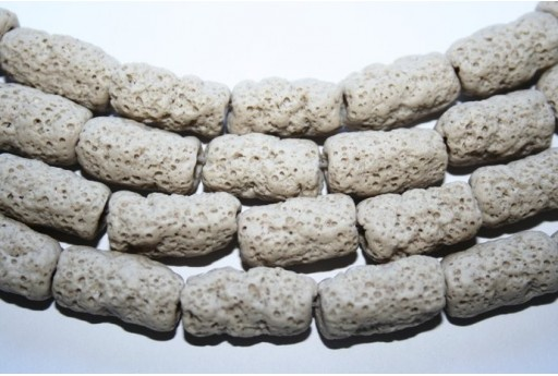 Lava Rock Beads Beige Tube 20X10mm - 3pz