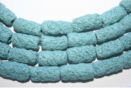 Lava Rock Beads Sky Blue Tube 20X10mm - 3pz