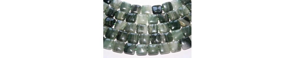 Green Line Quartz Beads
